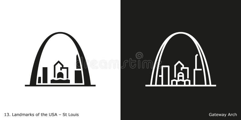 曲拱网关路易斯st 向量例证