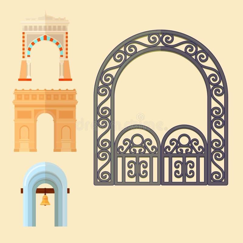 曲拱设计建筑学建筑框架经典之作、专栏结构门门的门面和古老门户的大厦 向量例证
