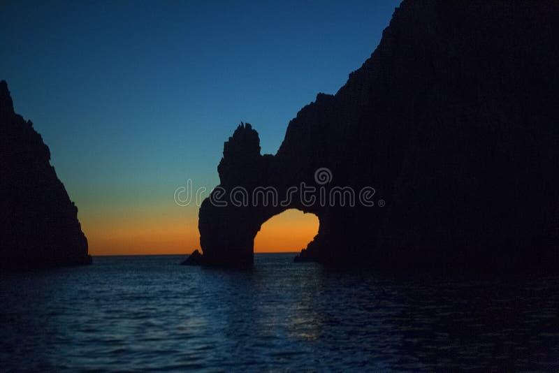 曲拱& x28的点; El Arco& x29;全景,在Cabo圣卢卡斯,墨西哥 免版税图库摄影