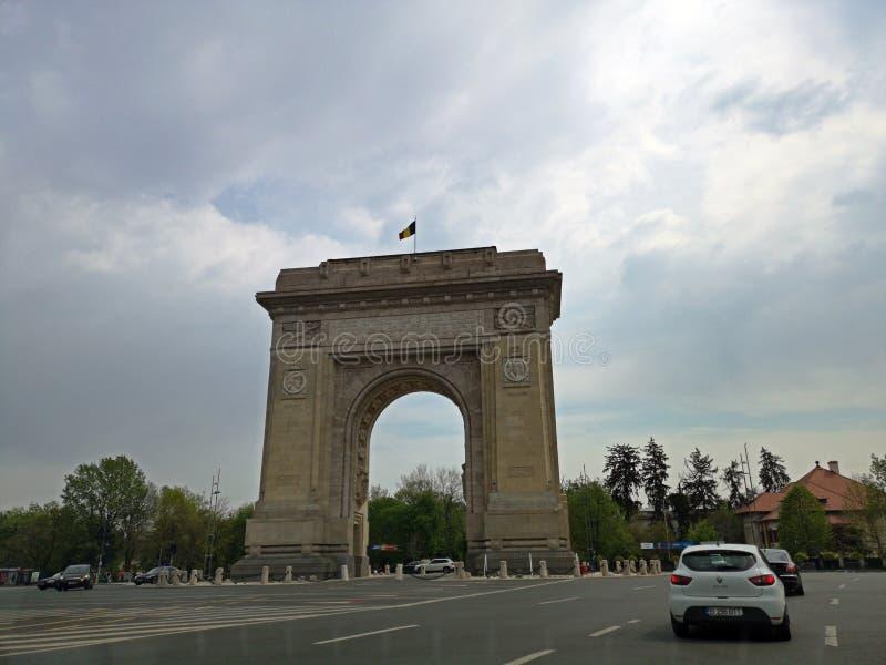 曲拱de triumph -布加勒斯特,罗马尼亚 图库摄影