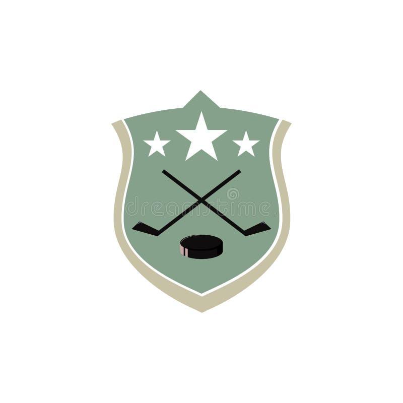 曲棍球俱乐部的象征在盾、棍子、顽童和星- t的 库存例证