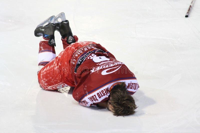 曲棍球冰伤害球员 免版税库存照片