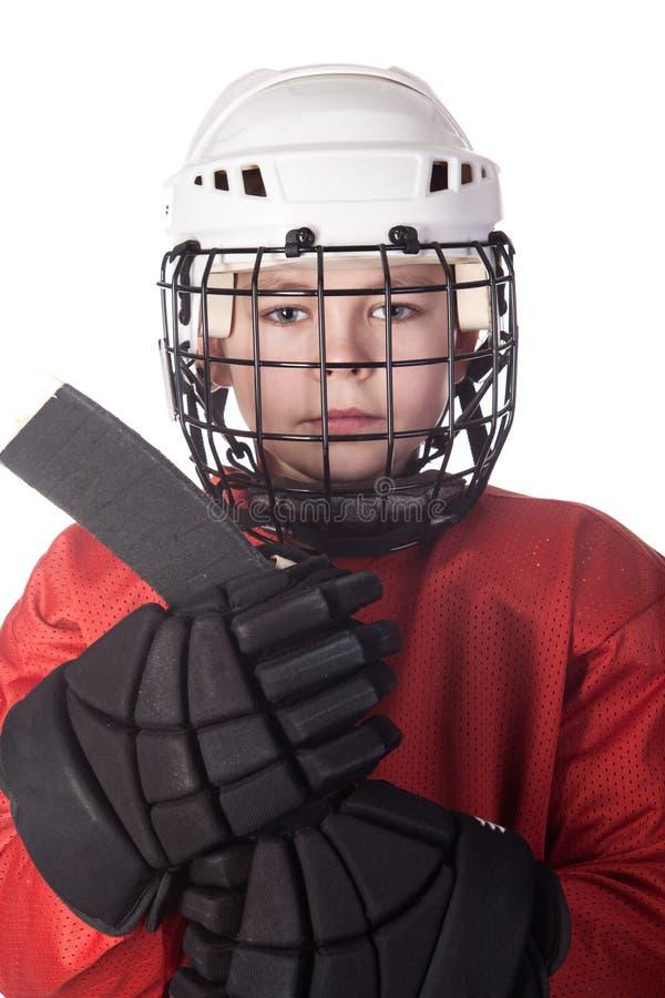曲棍球冰球员纵向年轻人 免版税库存照片
