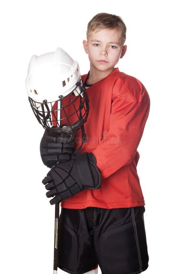 曲棍球冰球员纵向年轻人 库存照片