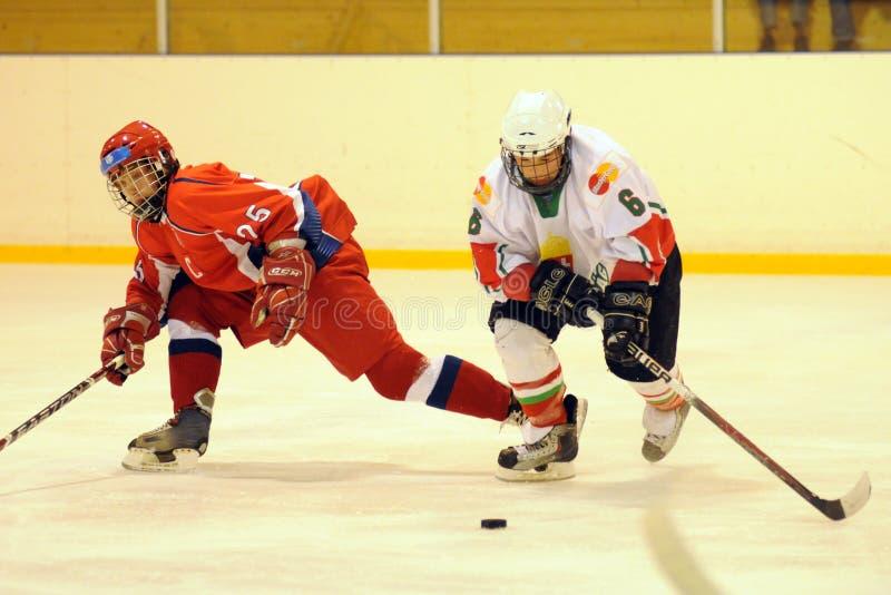 曲棍球匈牙利冰符合国家俄国青年时&# 图库摄影