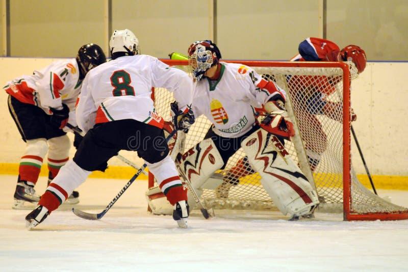 曲棍球匈牙利冰符合国家俄国青年时&# 库存图片