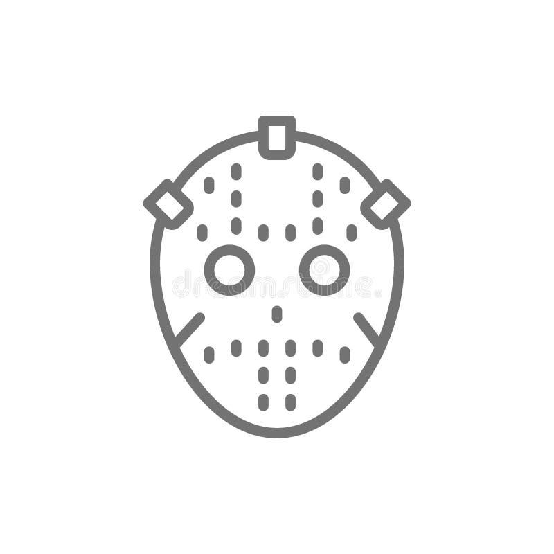 曲棍球守门员面具,保护一致的线象 库存例证