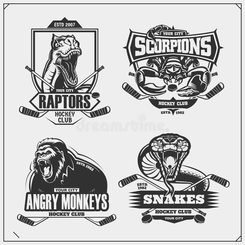 曲棍球徽章、标签和设计元素 体育俱乐部象征与狮子、眼镜蛇、猛禽恐龙和蝎子 皇族释放例证