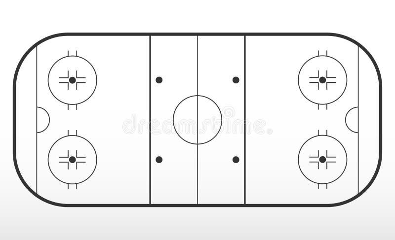 曲棍球溜冰场标注 线概述在冰球场的 向量例证