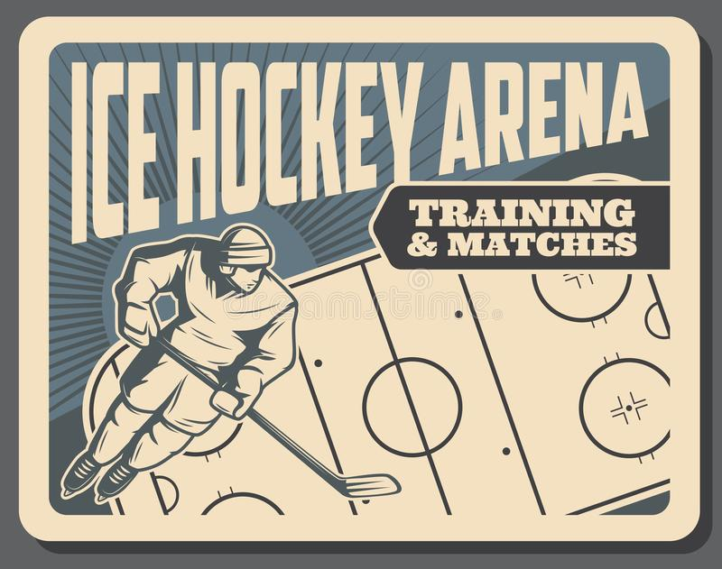 曲棍球训练和比赛在冰竞技场海报 库存例证