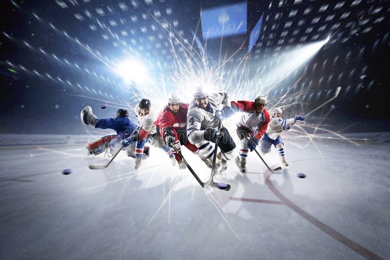 从曲棍球运动员的拼贴画行动的 库存图片
