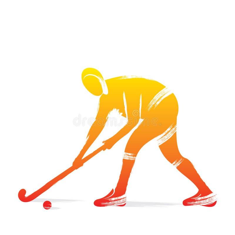 曲棍球运动员设计 向量例证