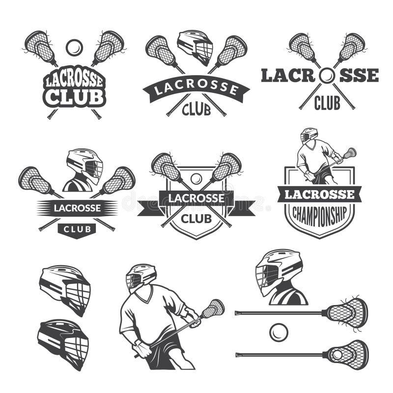 曲棍网兜球俱乐部标签  被设置的传染媒介单色图片 皇族释放例证