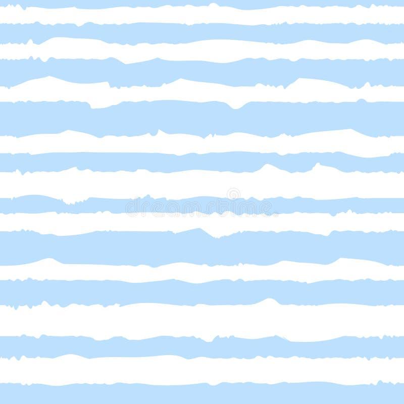曲线蓝色条纹的无缝的样式一点水手的 传染媒介图象为假日,婴儿送礼会,生日,封皮,印刷品,布料 皇族释放例证