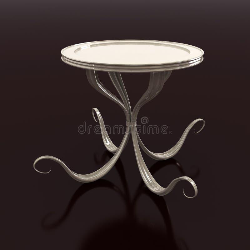 曲线被反射的圆桌 向量例证