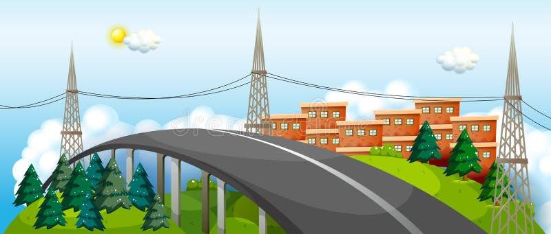 曲线路在城市 皇族释放例证