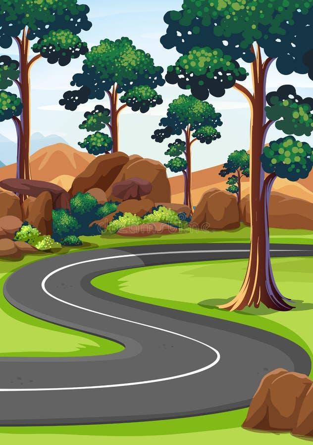 曲线路在森林 向量例证
