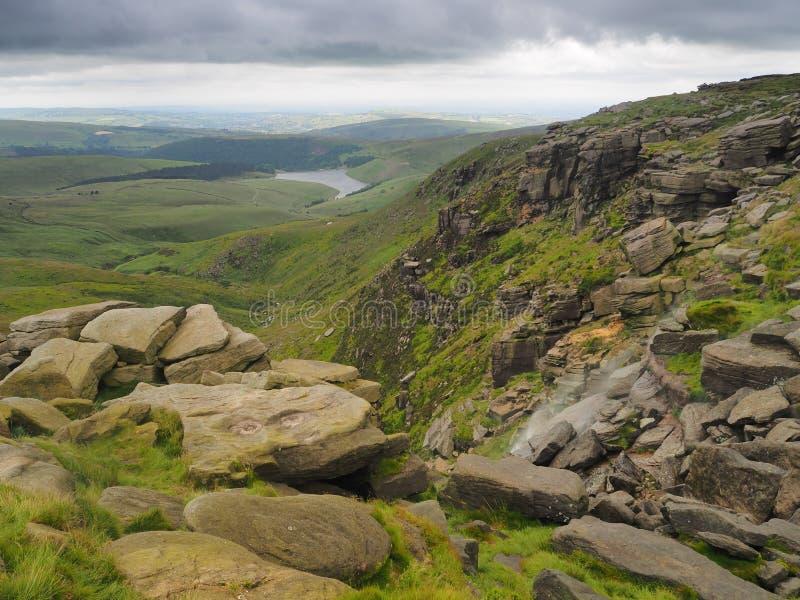更加亲切的与风吹的瀑布到空气里,高峰区,英国的倒台俯视的水库 库存照片