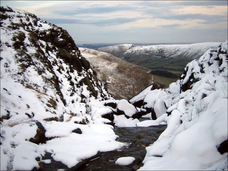 更加亲切的侦察员在高峰区英国在冬天 库存图片