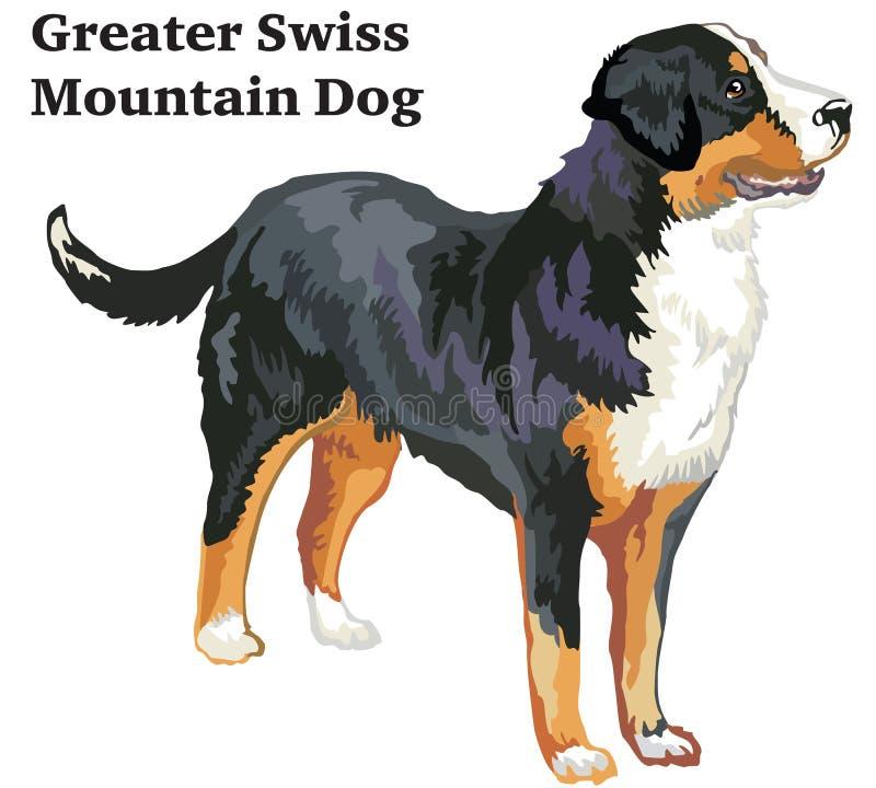 更加伟大的瑞士山D色的装饰常设画象  向量例证