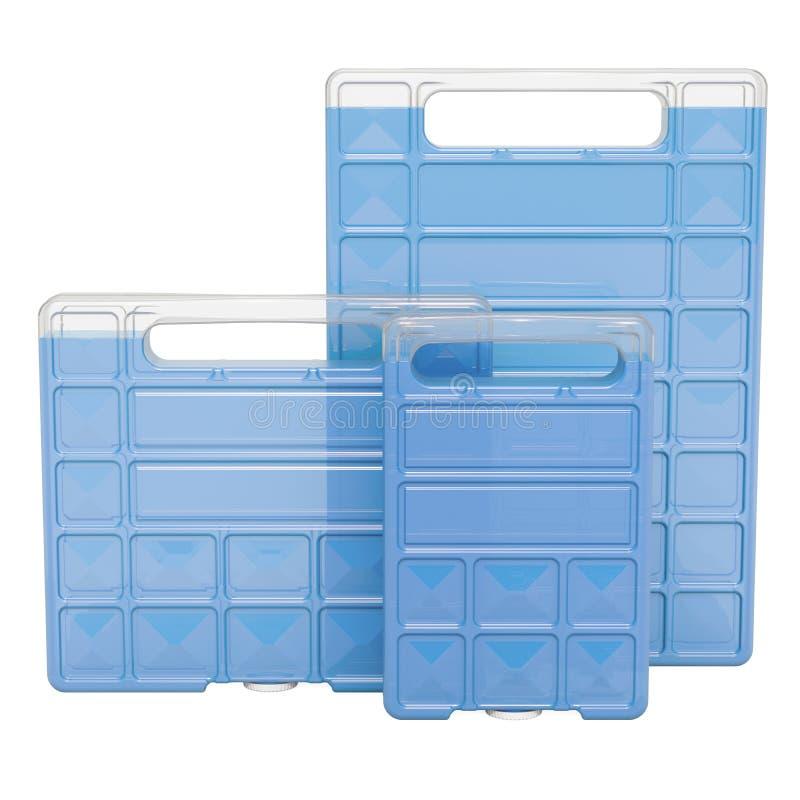 更加凉快的箱子或袋子的, 3D冷冻机块翻译 库存例证