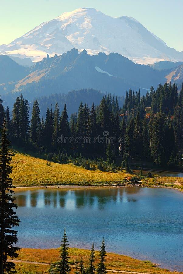 更加多雨的Mt.的Tipsoo湖 免版税库存图片