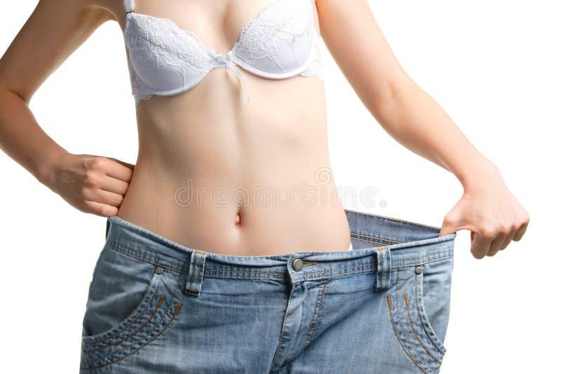 更加极大的牛仔裤估量妇女 免版税图库摄影