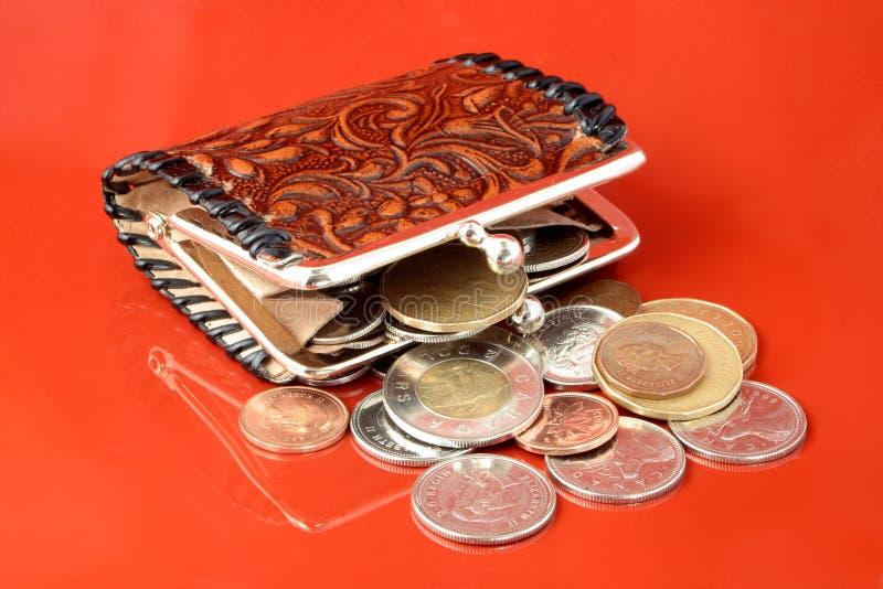 更换货币钱包 库存照片
