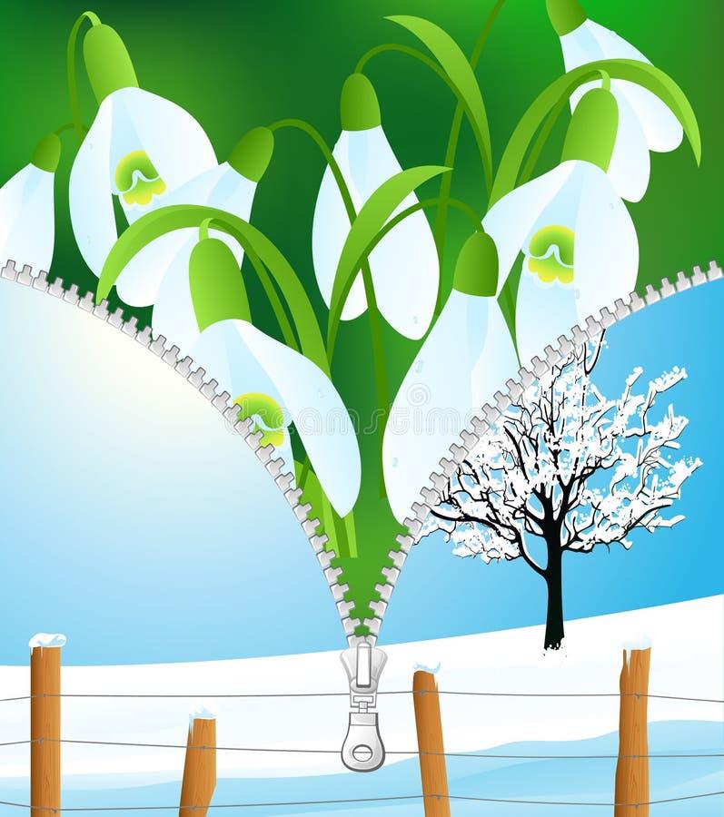 更改季节春天冬天 向量例证