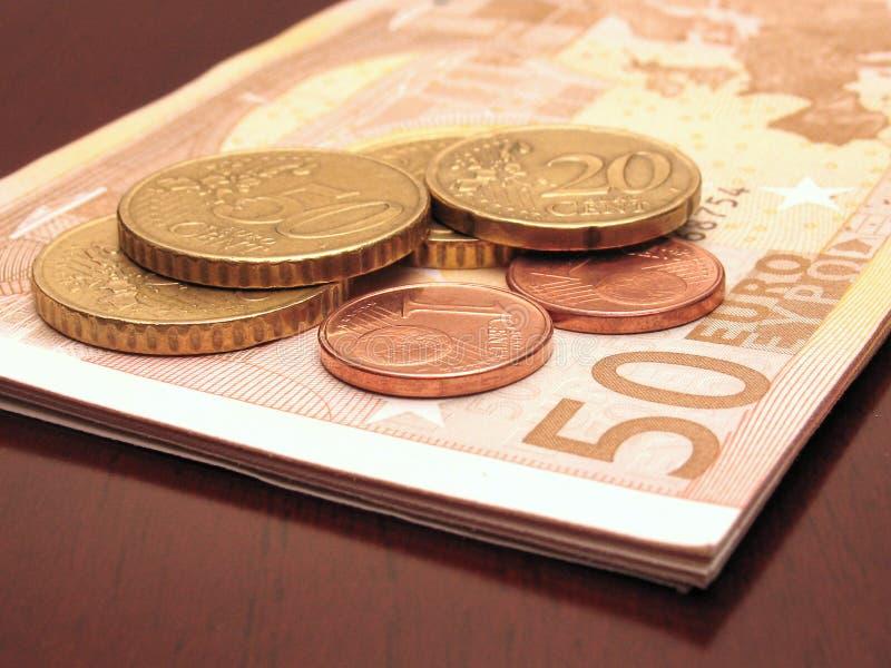更改欧元少量一百 库存照片