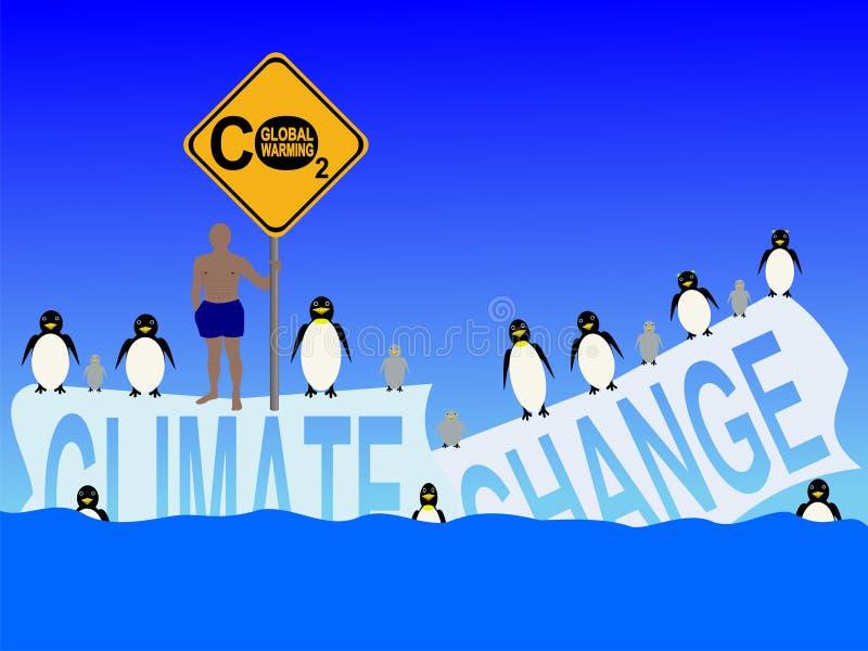 更改气候企鹅 库存例证