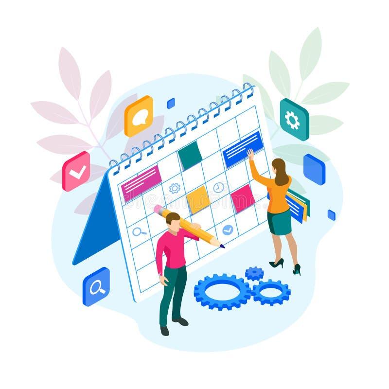 更新任务和里程碑进展计划的等量项目负责人 每周日程表和日历计划者 库存例证