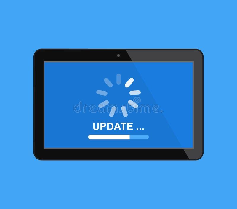 更新在一种数字片剂的软件的过程 建筑在向量之下的例证股票 皇族释放例证