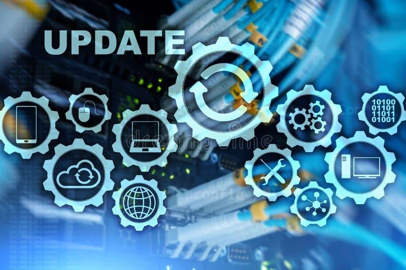 更新在虚屏服务器室Datacenter背景的软件计算机 更新概念的技术 库存例证