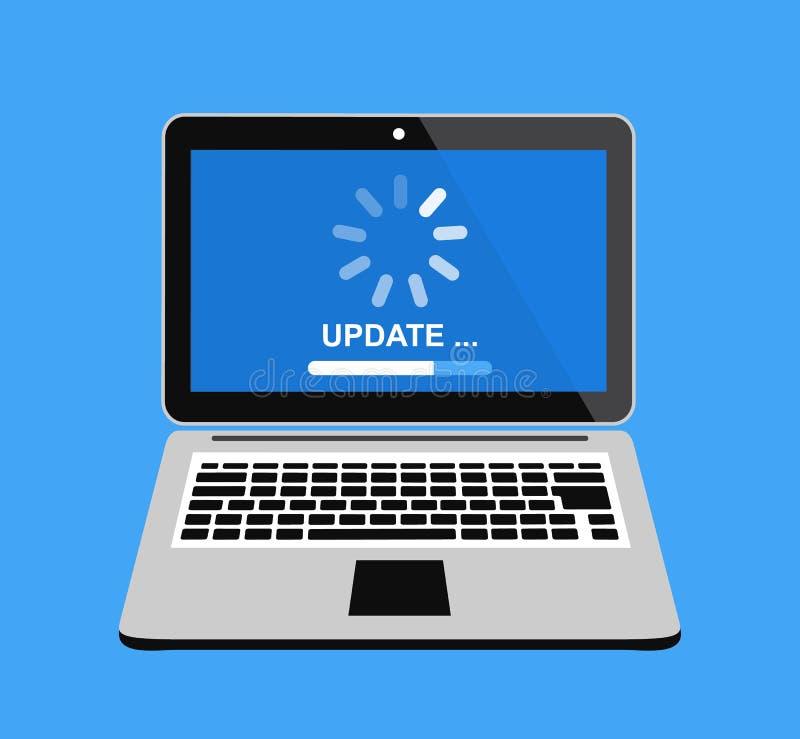 更新您的计算机软件 在膝上型计算机屏幕的启动过程 也corel凹道例证向量 皇族释放例证