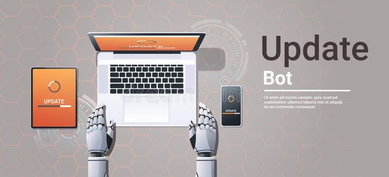 更新数字设备软件安装新的系统更新马胃蝇蛆网络人工智能技术的机器人 皇族释放例证