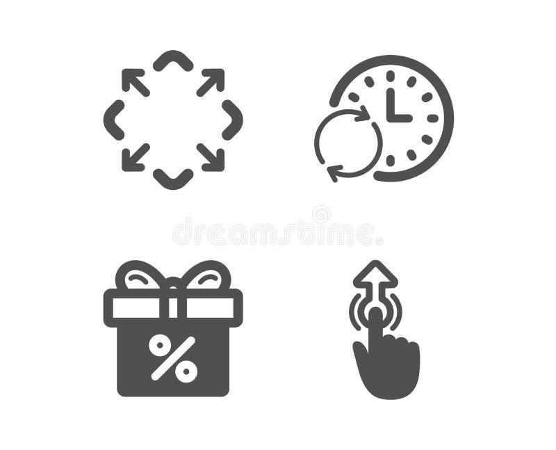 更新时间,最大化并且打折提议象 标志的重击 刷新时钟,整个银幕,礼物盒 ?? 库存例证