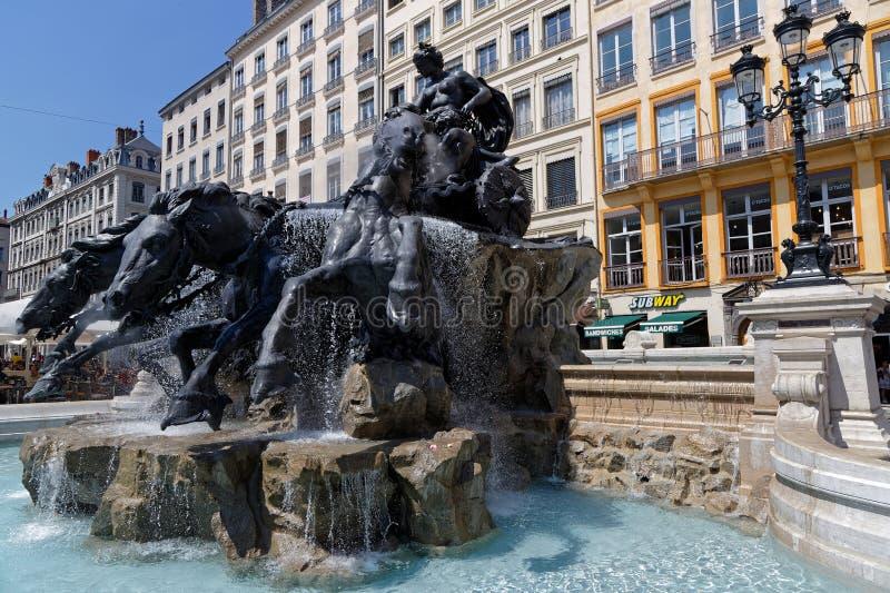 更新的Bartholdi喷泉在利昂 库存照片