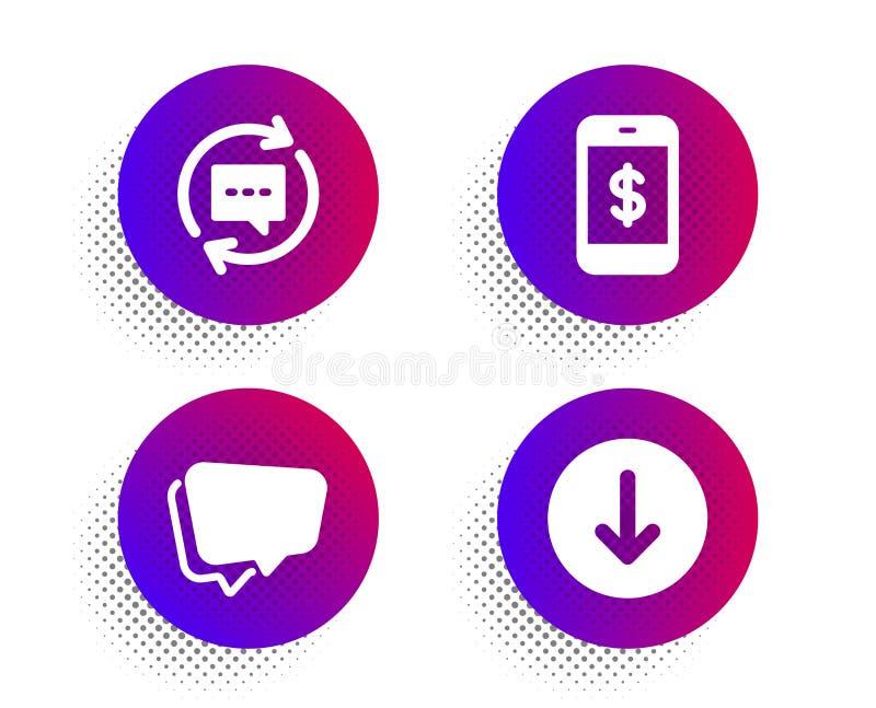 更新评论、讲话泡影和智能手机付款象集合 把标志移下来 ?? 皇族释放例证