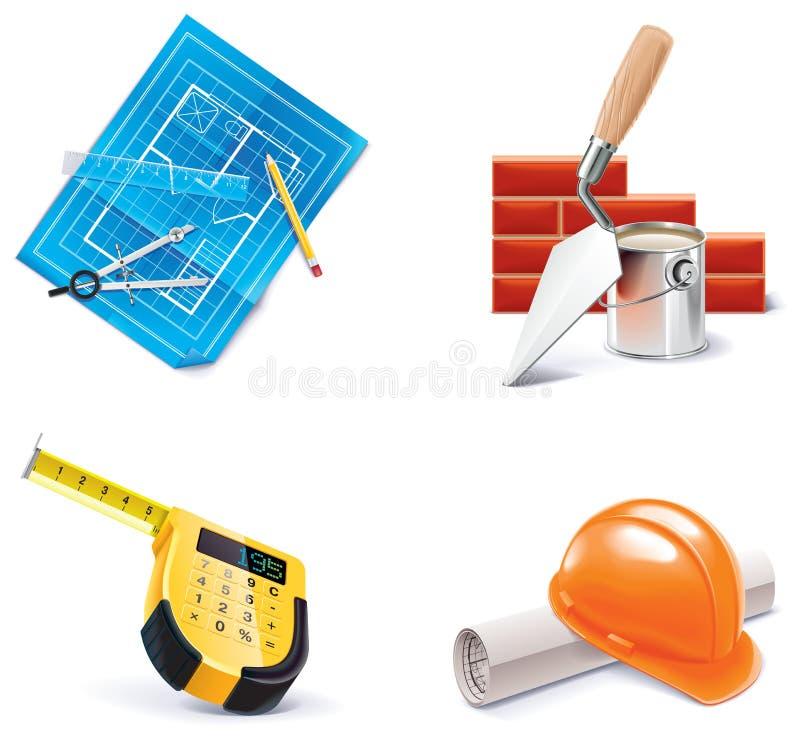 更新集合向量的3个homebuilding的图标零件 皇族释放例证