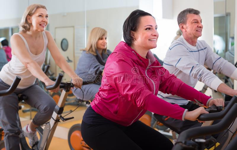 更老的男人和妇女参与健身房 库存照片