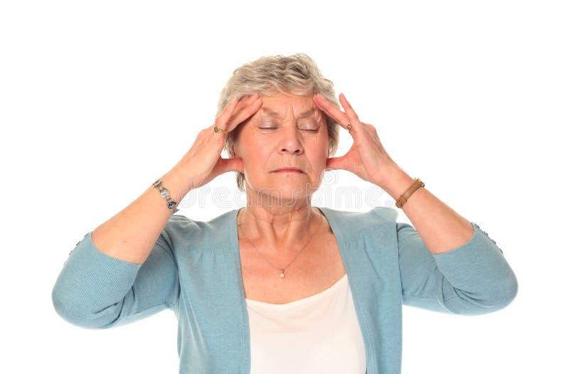 更老的痛苦前辈妇女 库存图片