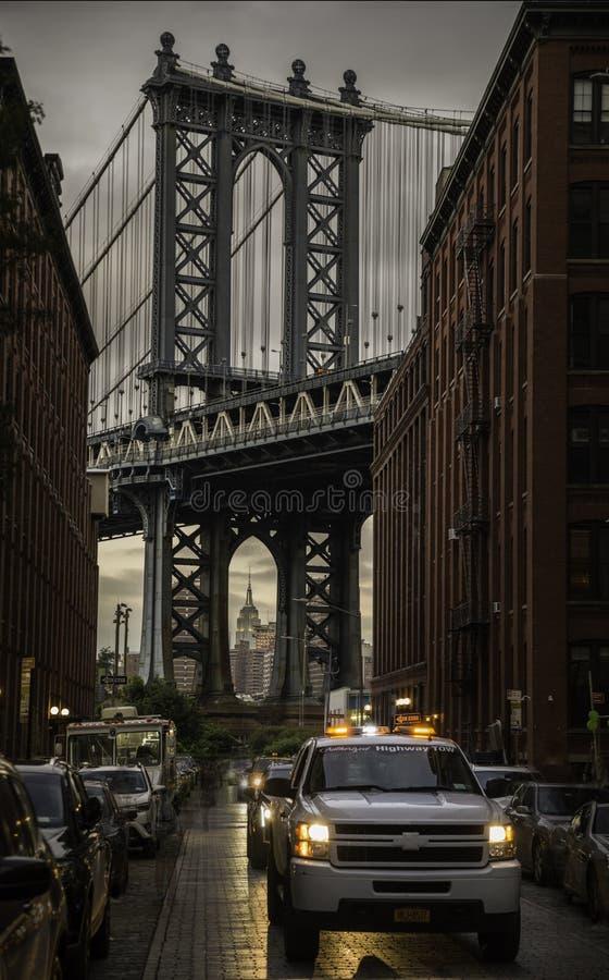 曼哈桥梁一个宏伟的视图  库存照片