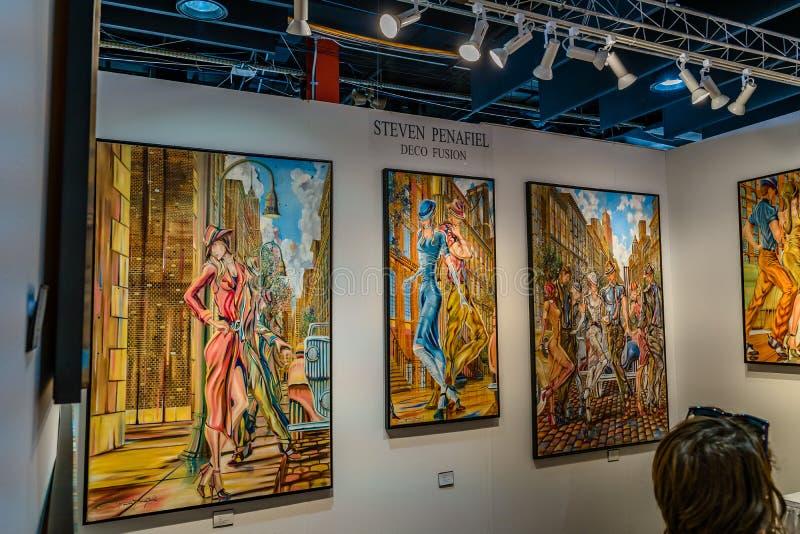 曼哈顿、纽约、NY、美国- 2019年4月7日Artexpo纽约,现代和当代艺术展示,码头90 NYC 库存照片