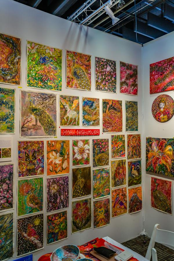 曼哈顿、纽约、NY、美国- 2019年4月7日Artexpo纽约,现代和当代艺术展示,码头90 NYC 免版税库存图片