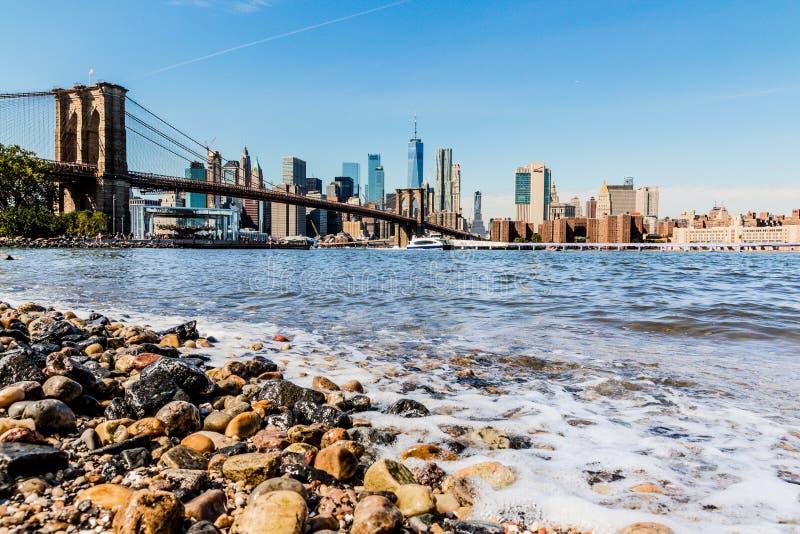 曼哈顿下城街市地平线全景 免版税库存照片