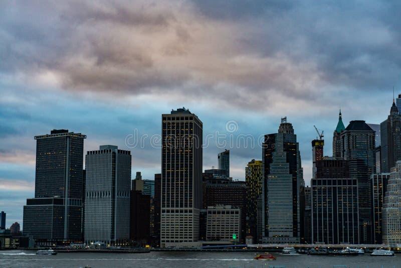 曼哈顿下城都市摩天大楼在纽约 免版税库存图片