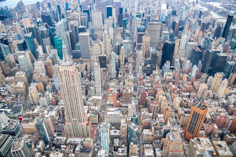 曼哈顿中城,纽约直升机视图  库存图片