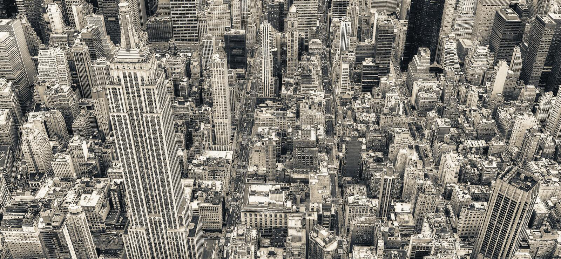 曼哈顿中城,纽约直升机视图  图库摄影