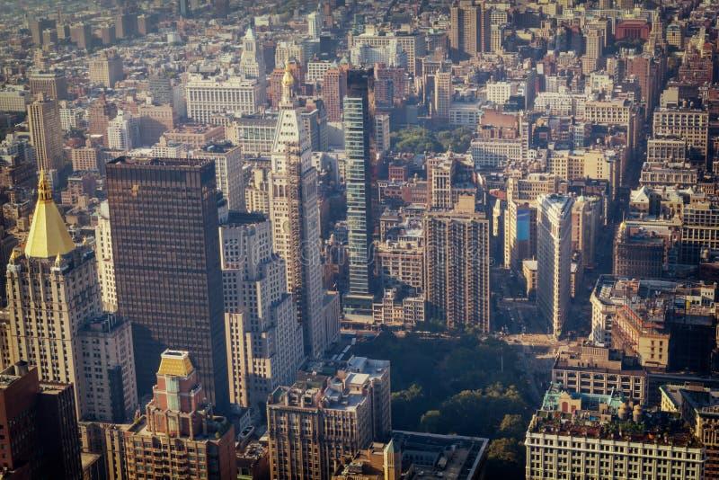 曼哈顿中间地区大厦顶视图,被定调子的图象 免版税库存图片